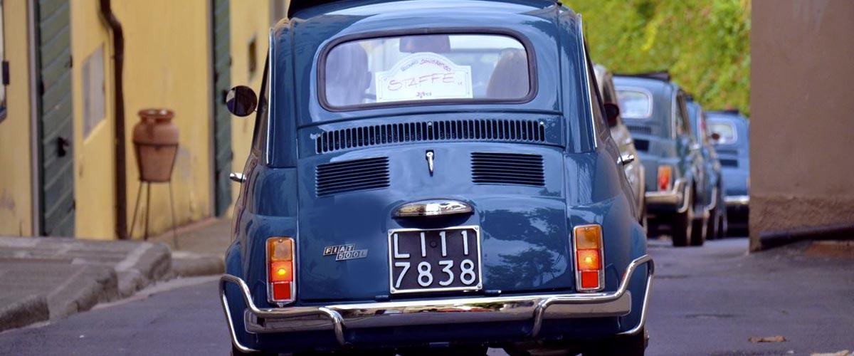 Blue Fiat 500 in Italian Hill Towns